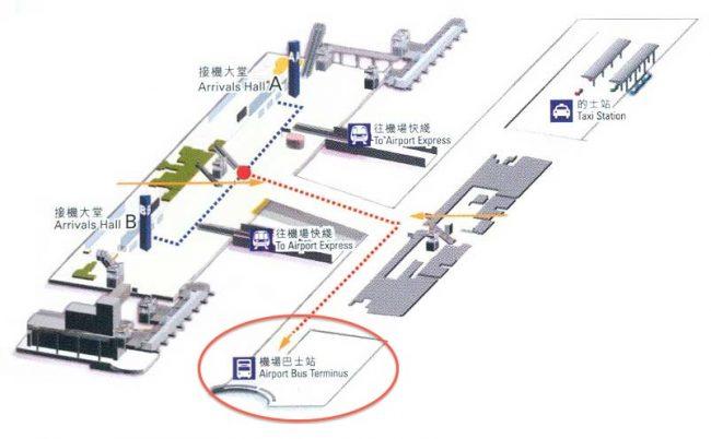 香港到着ロビーバス乗り場